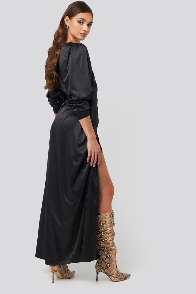 Puff Sleeve Wrap Maxi Dress Deep Black