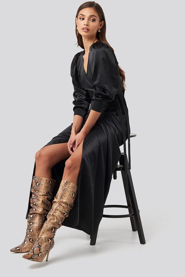 Puff Sleeve Wrap Maxi Dress Deep Black