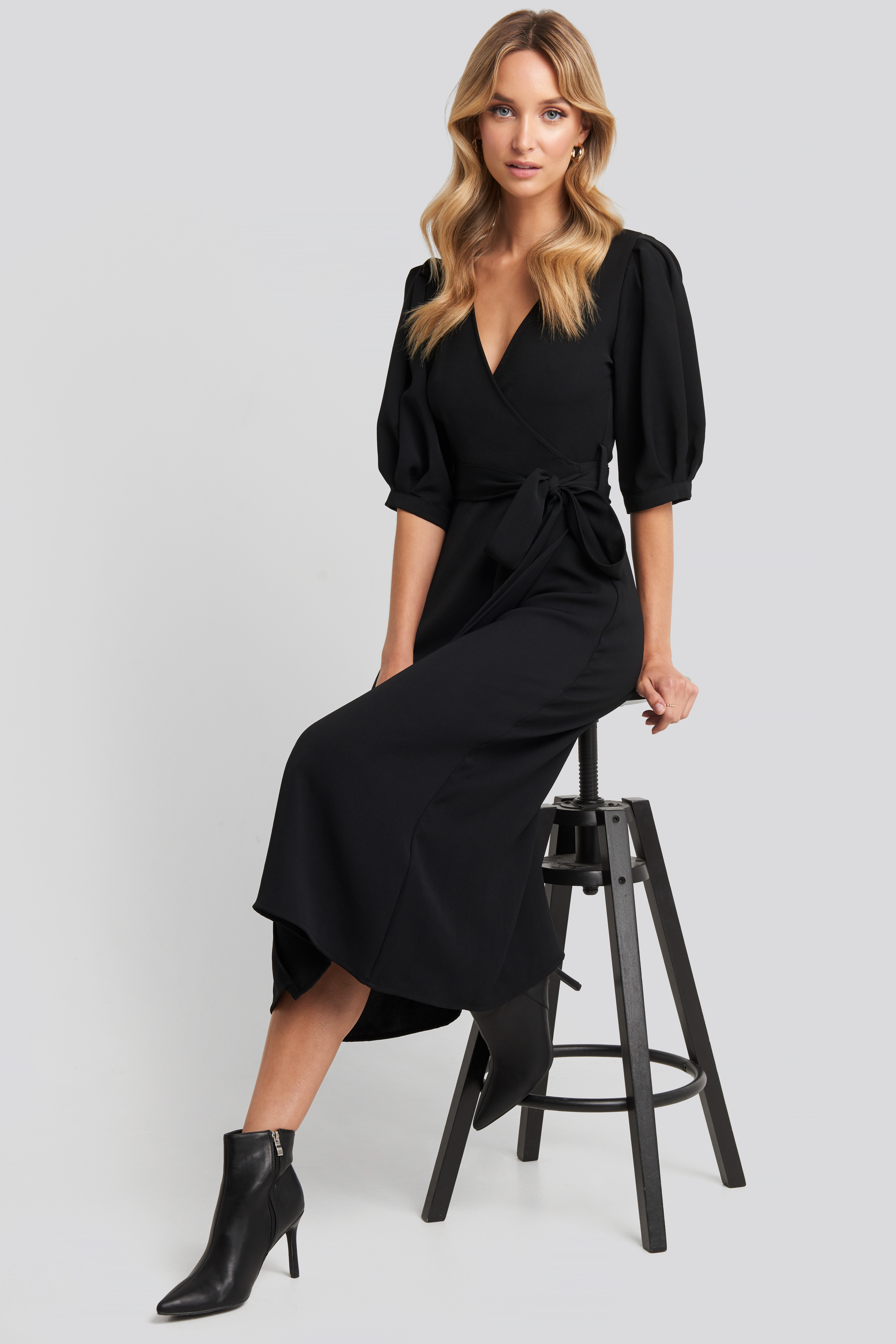 Black Puff Sleeve Wrap Midi Dress