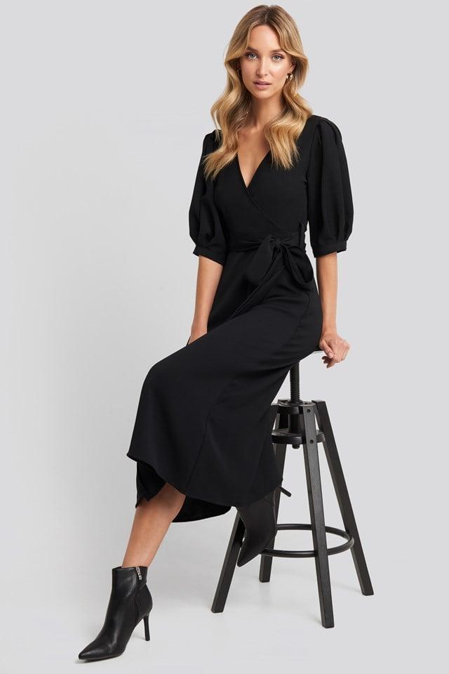 Puff Sleeve Wrap Midi Dress Black
