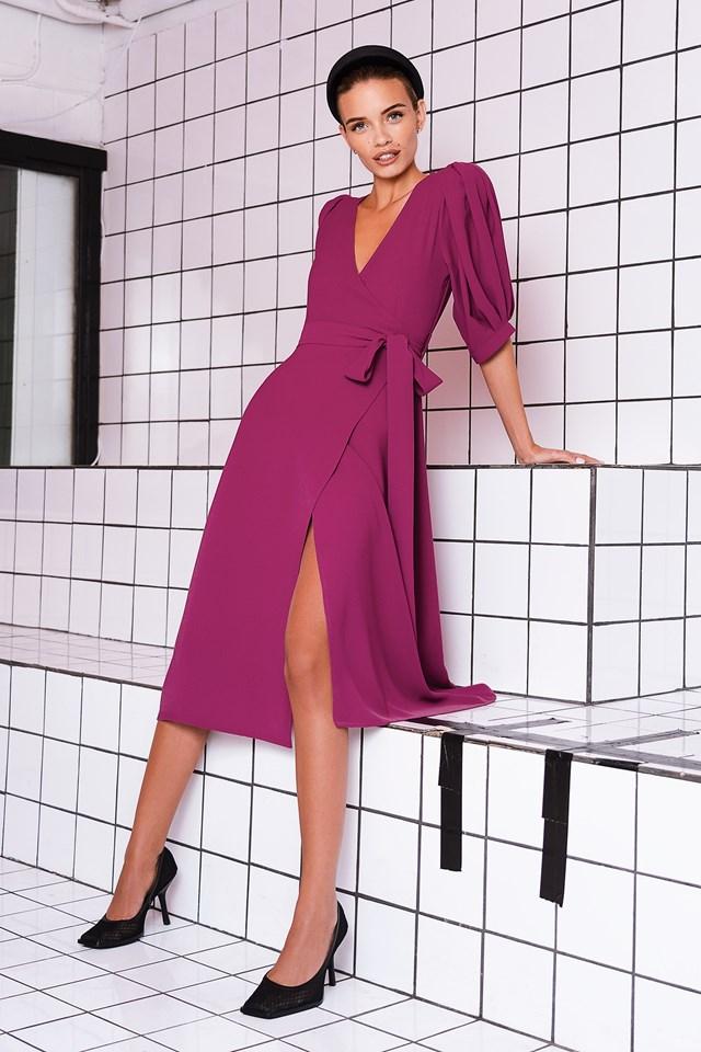 Puff Sleeve Wrap Midi Dress Pink