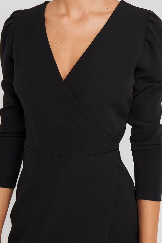 Puff Sleeve Wrap Mini Dress Black