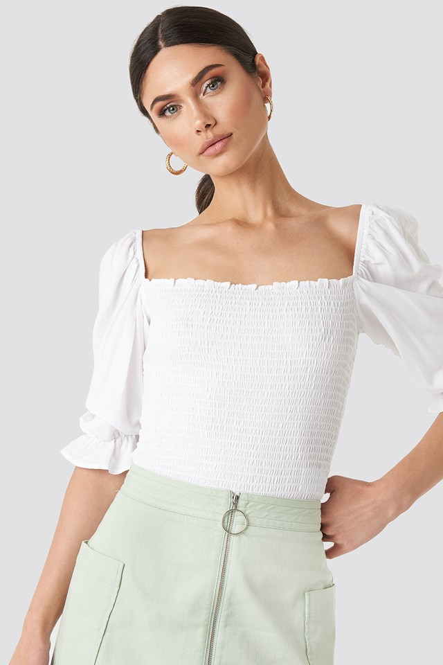 Puff Sleeves Shirring Top White
