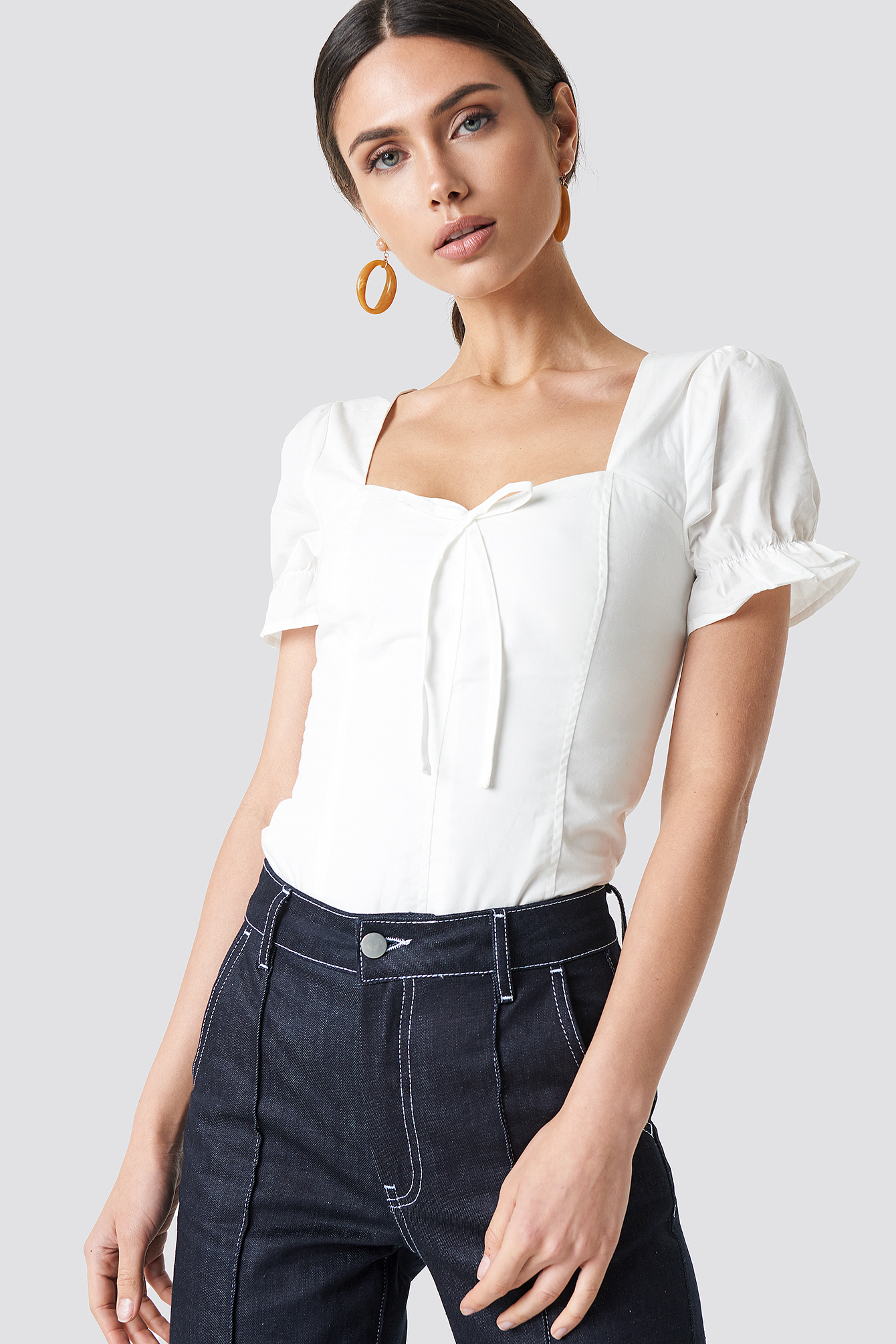 Puffy Shoulder Corset Top NA-KD.COM