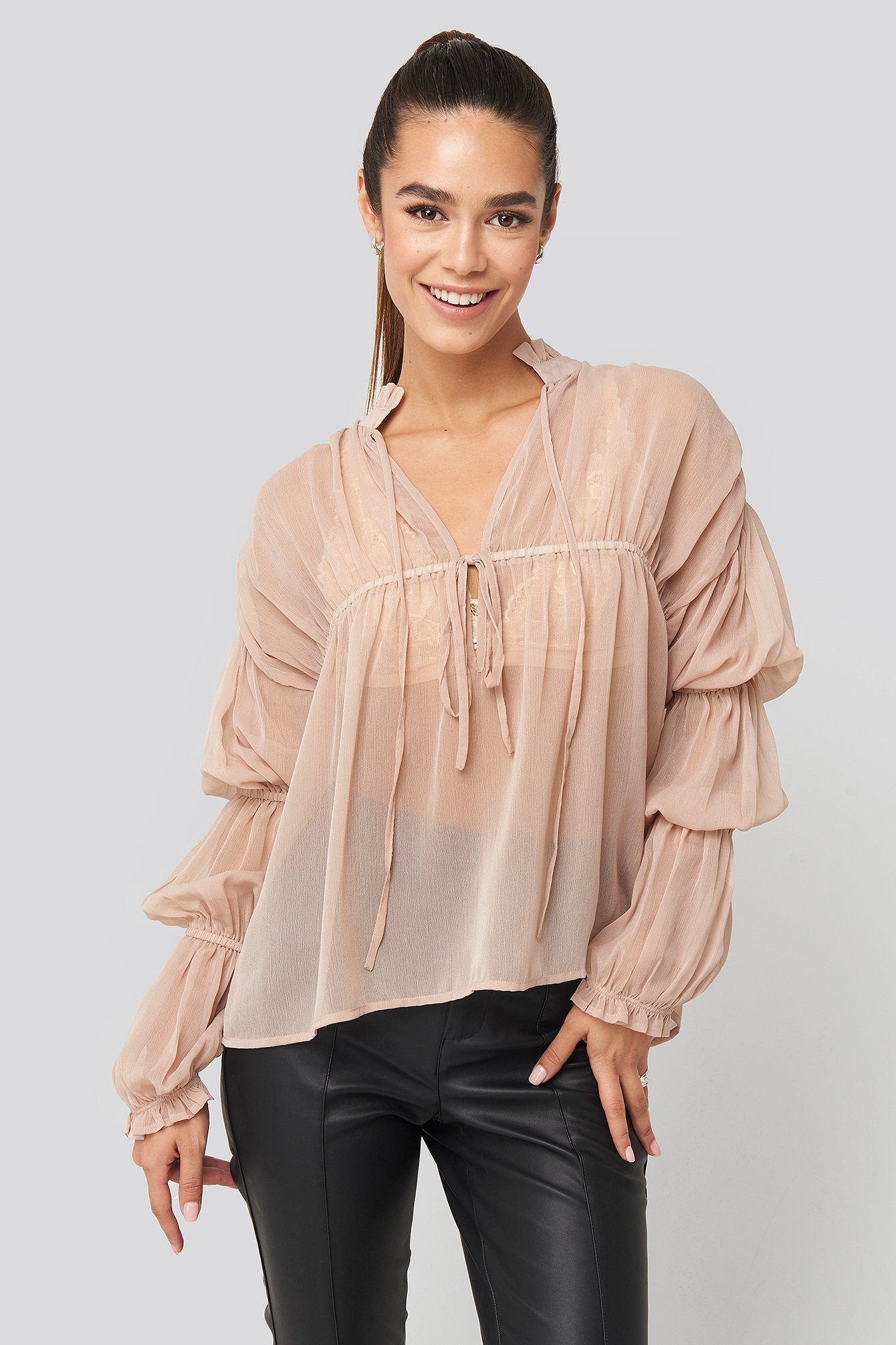 Light Pink Puffy Sleeve Draped Chiffon Blouse