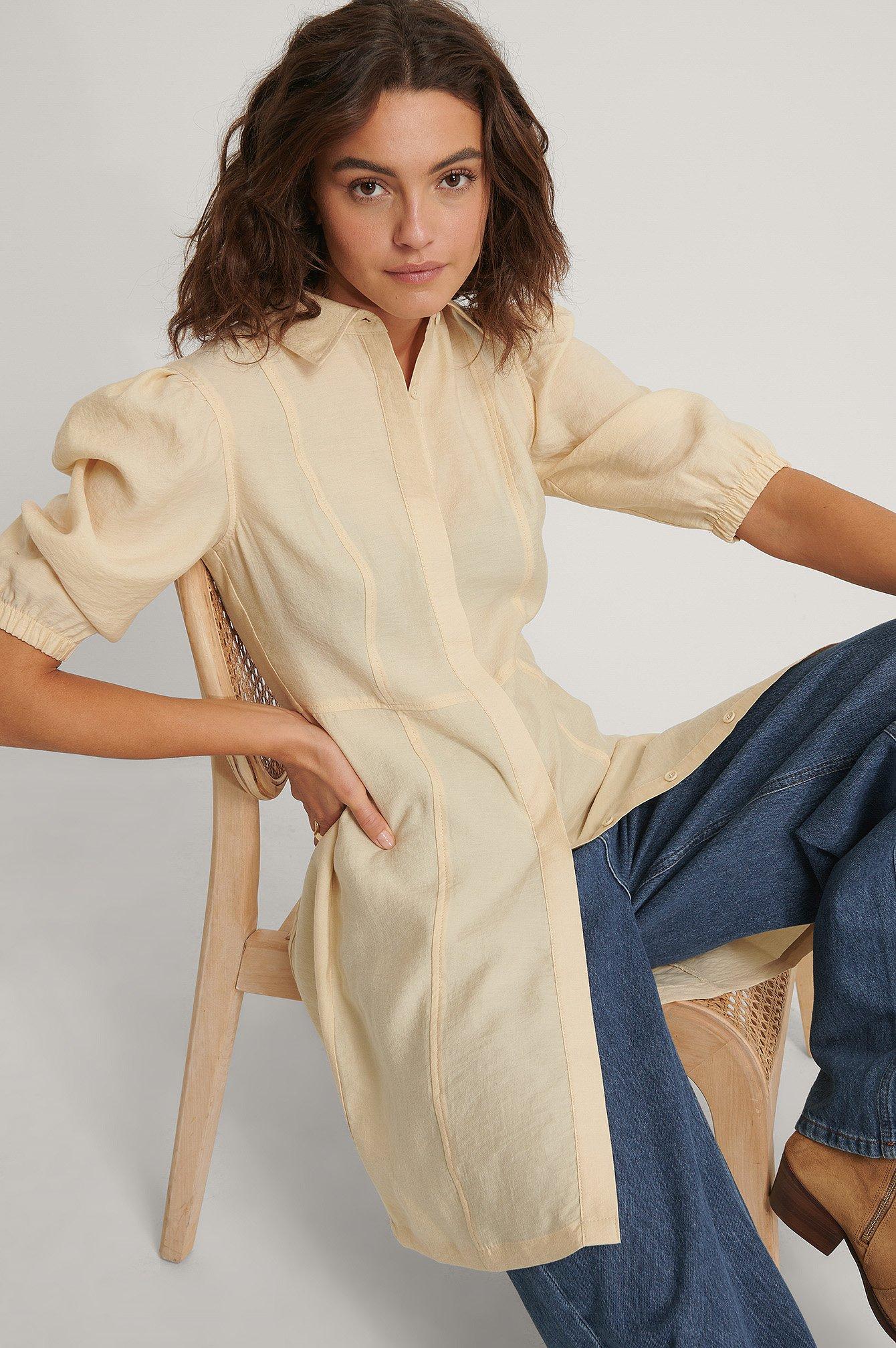 NA-KD Reborn Skjortklänning - Beige