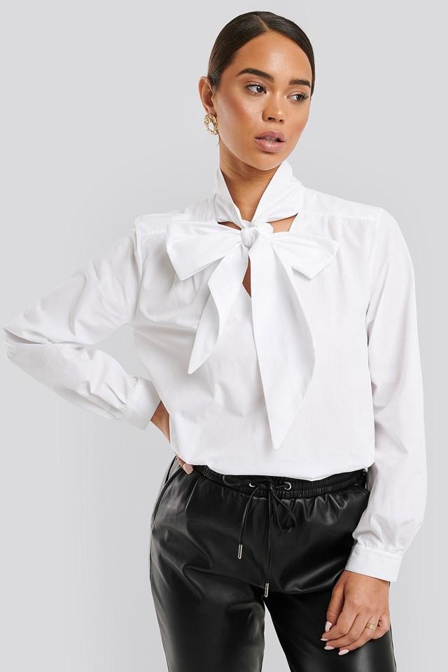 Pussy Bow V-neckline Shirt Optical White