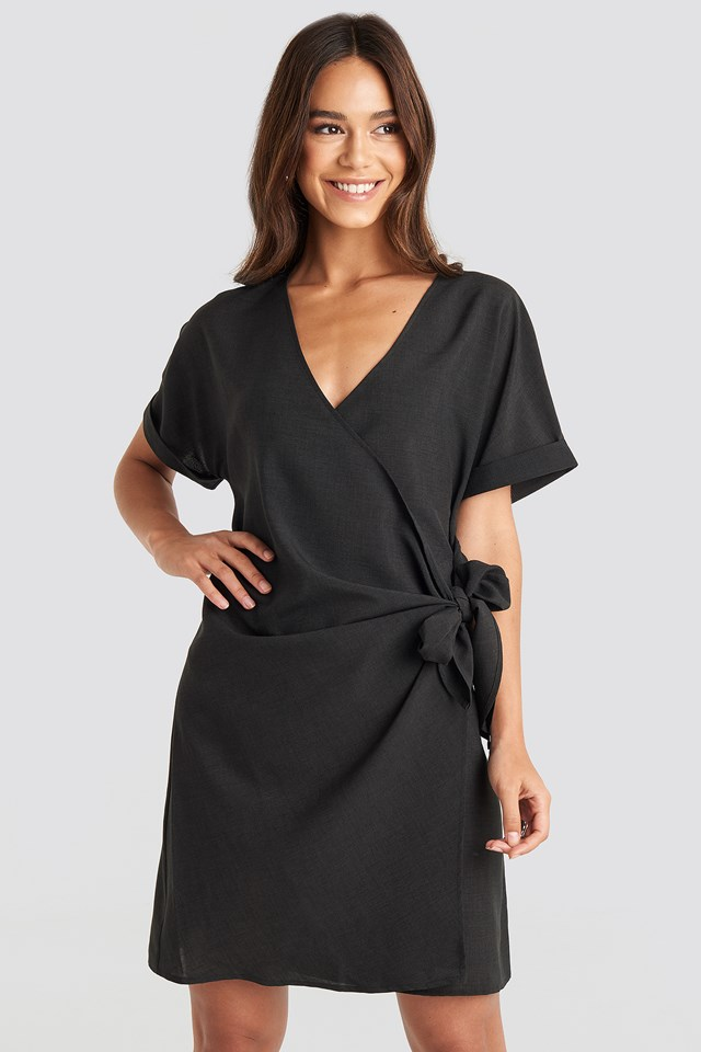 Overlap Knot Mini Dress Black