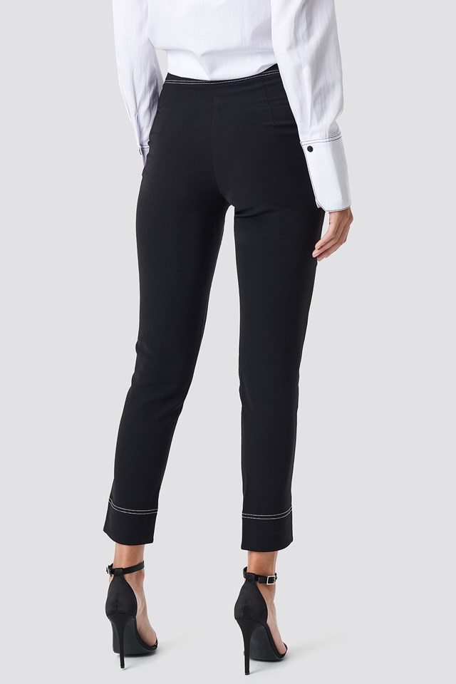 Contrast Seam Detailed Pants Black