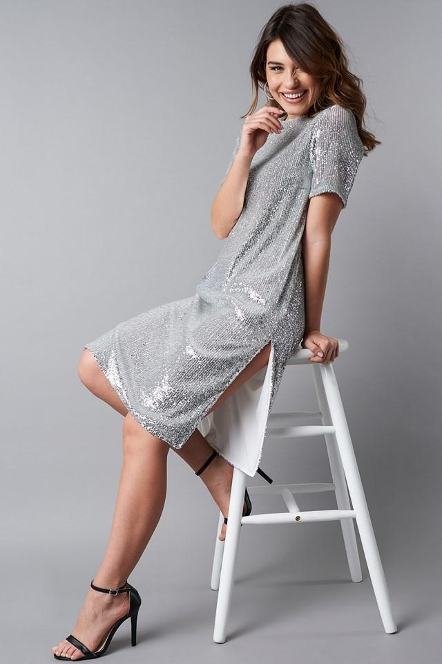 Quarter Sleeve Side Slit Sequins Dress Silver