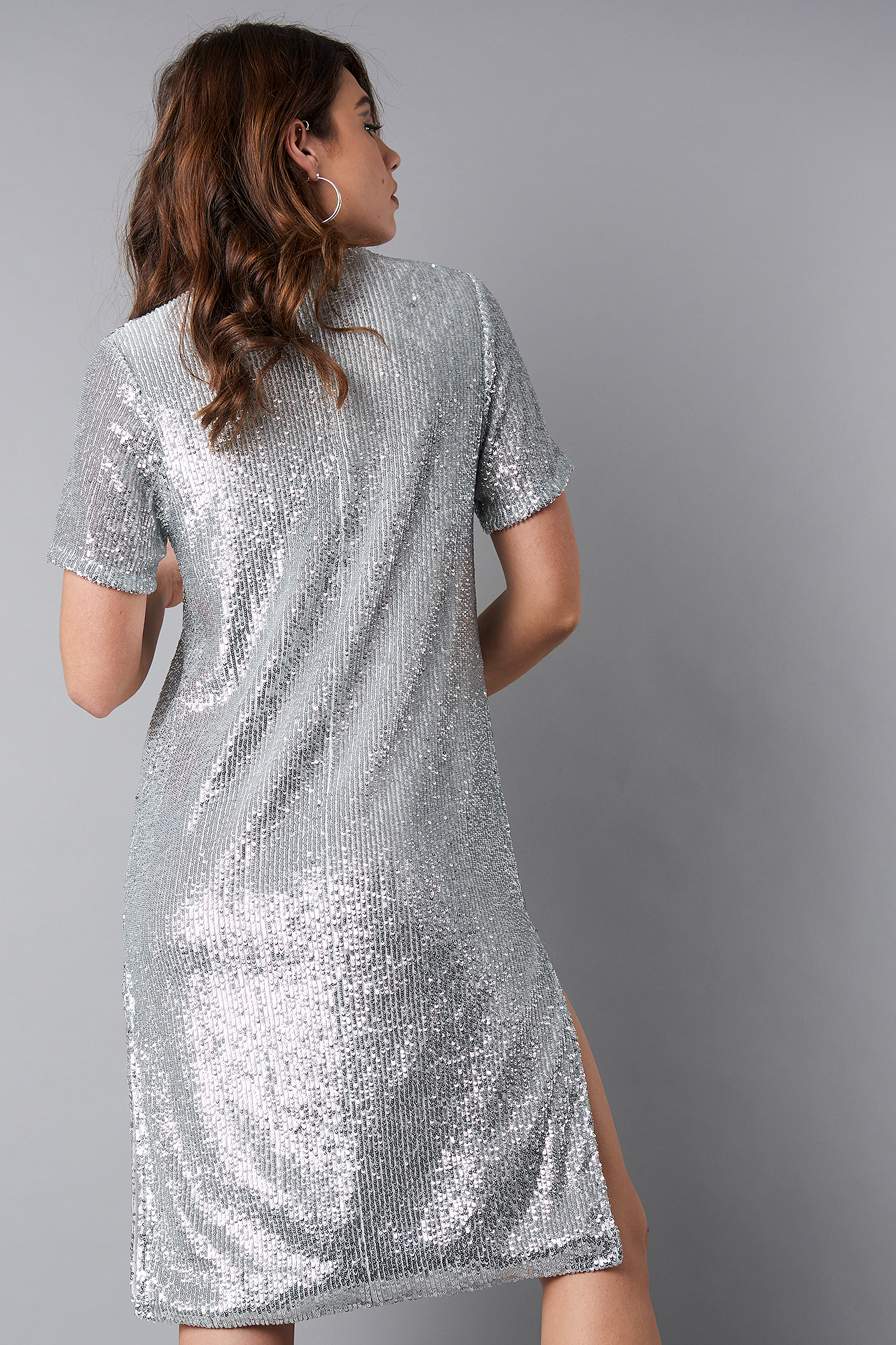 Quarter Sleeve Side Slit Sequins Dress NA-KD.COM