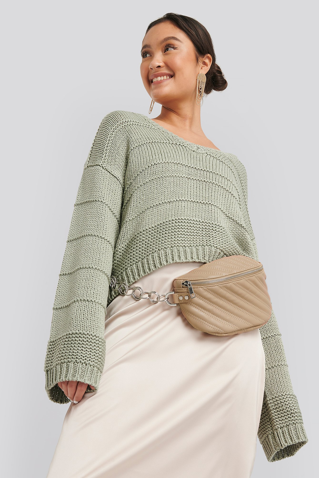 Beige Quilted Fanny Pack
