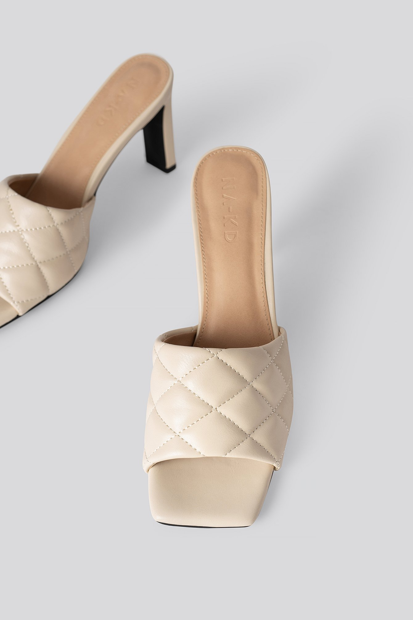 Cream Quilted Heeled Mules