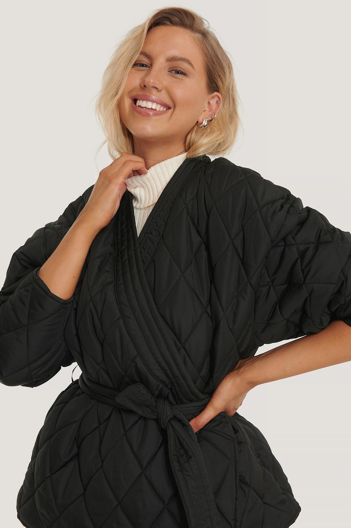 NA-KD Trend Quiltad Kimonojacka - Black