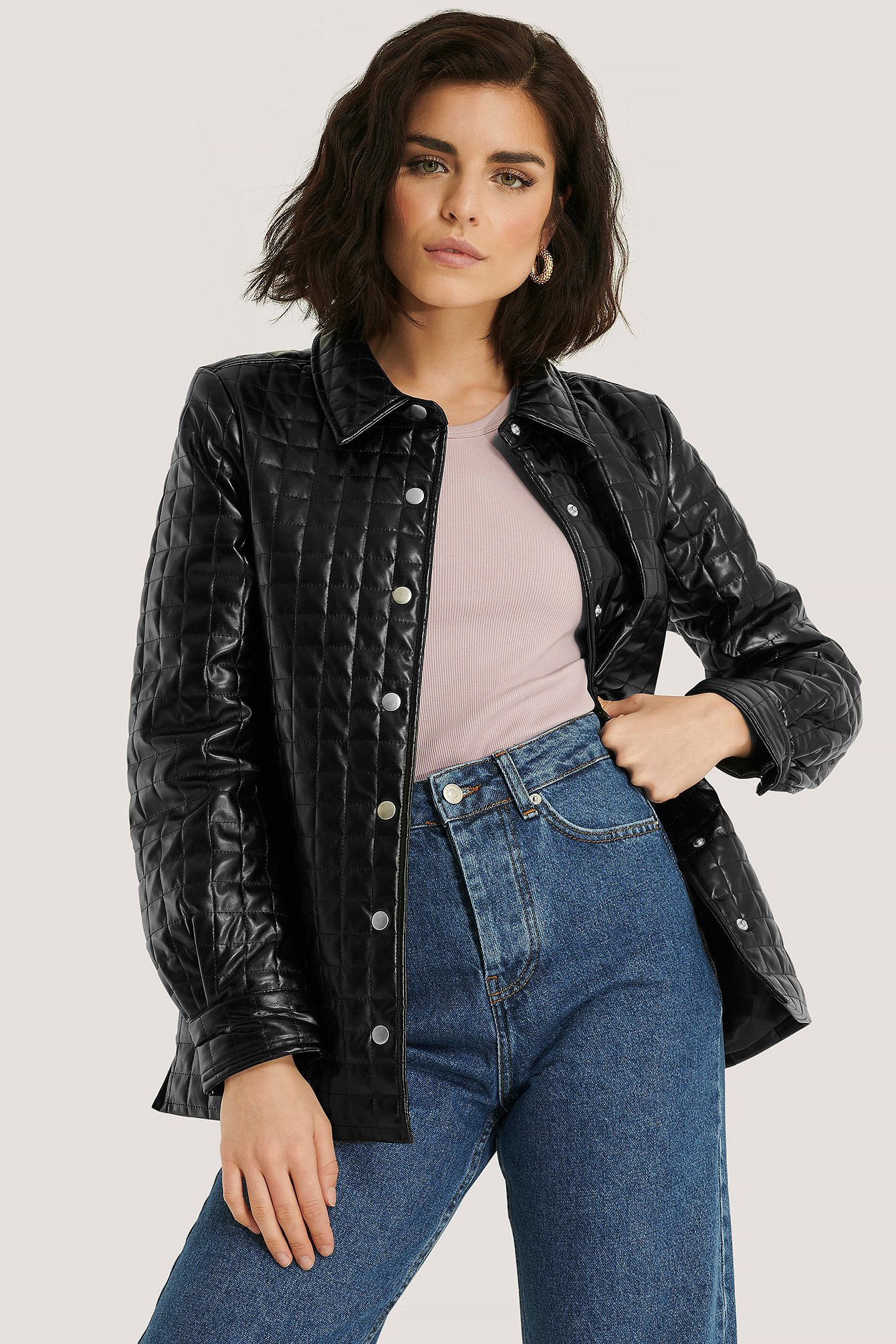 na-kd trend -  Quilted PU Jacket - Black