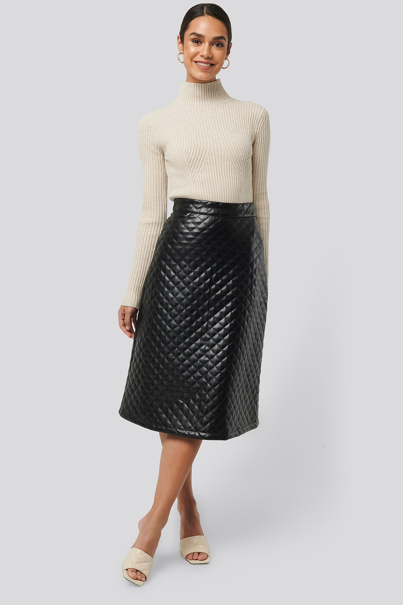 NA-KD Trend Quilted PU Midi Skirt - Black