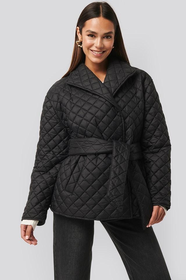 Quilted Short Jacket Black