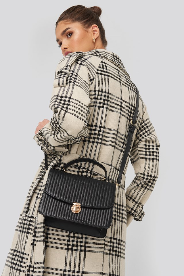 Quilted Top Handle Bag Black