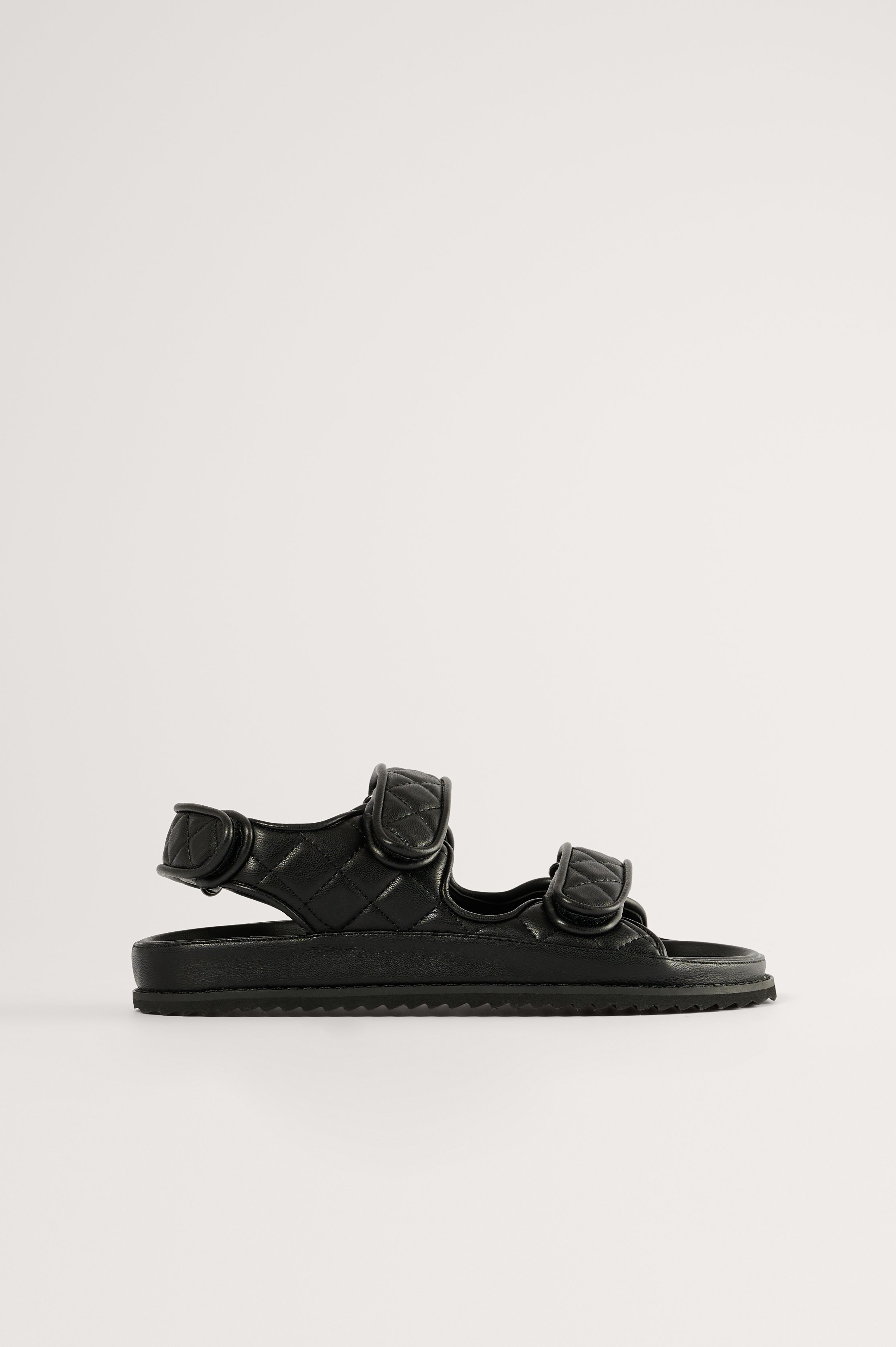 Black Quilted Velcro Sandal