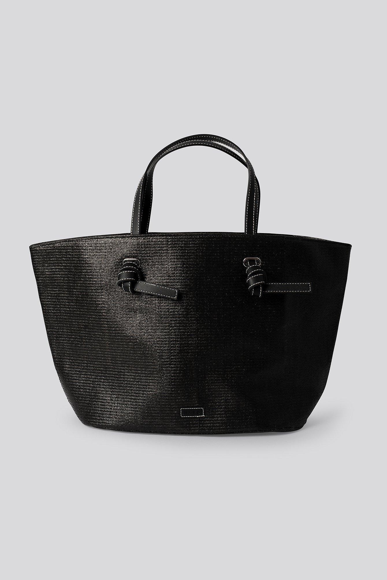 NA-KD Accessories Raffia Basket Tote - Black