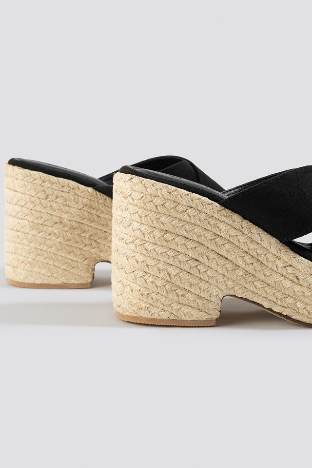 Raffia Block Heel Sandals Black