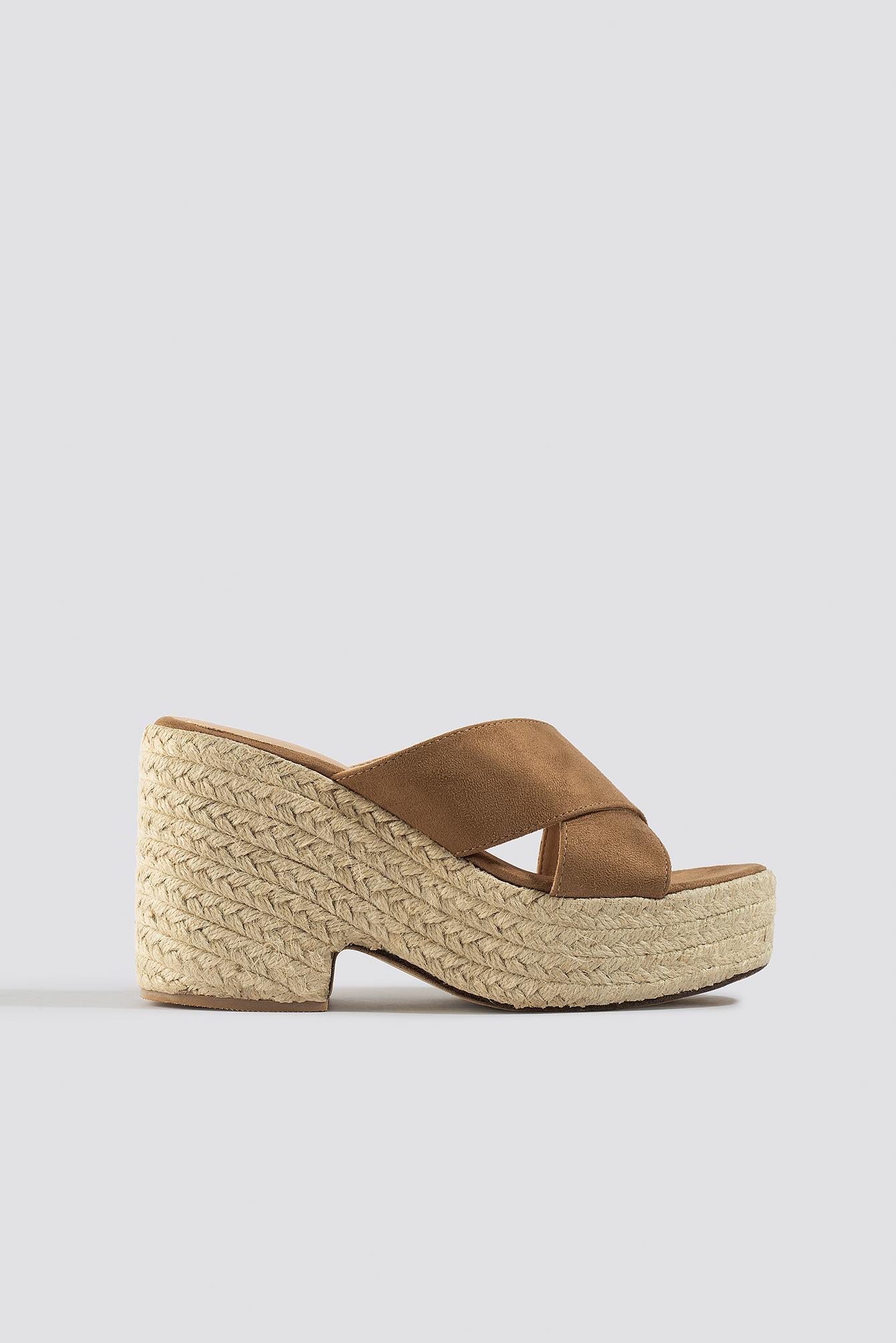 Raffia Block Heel Sandals NA-KD.COM