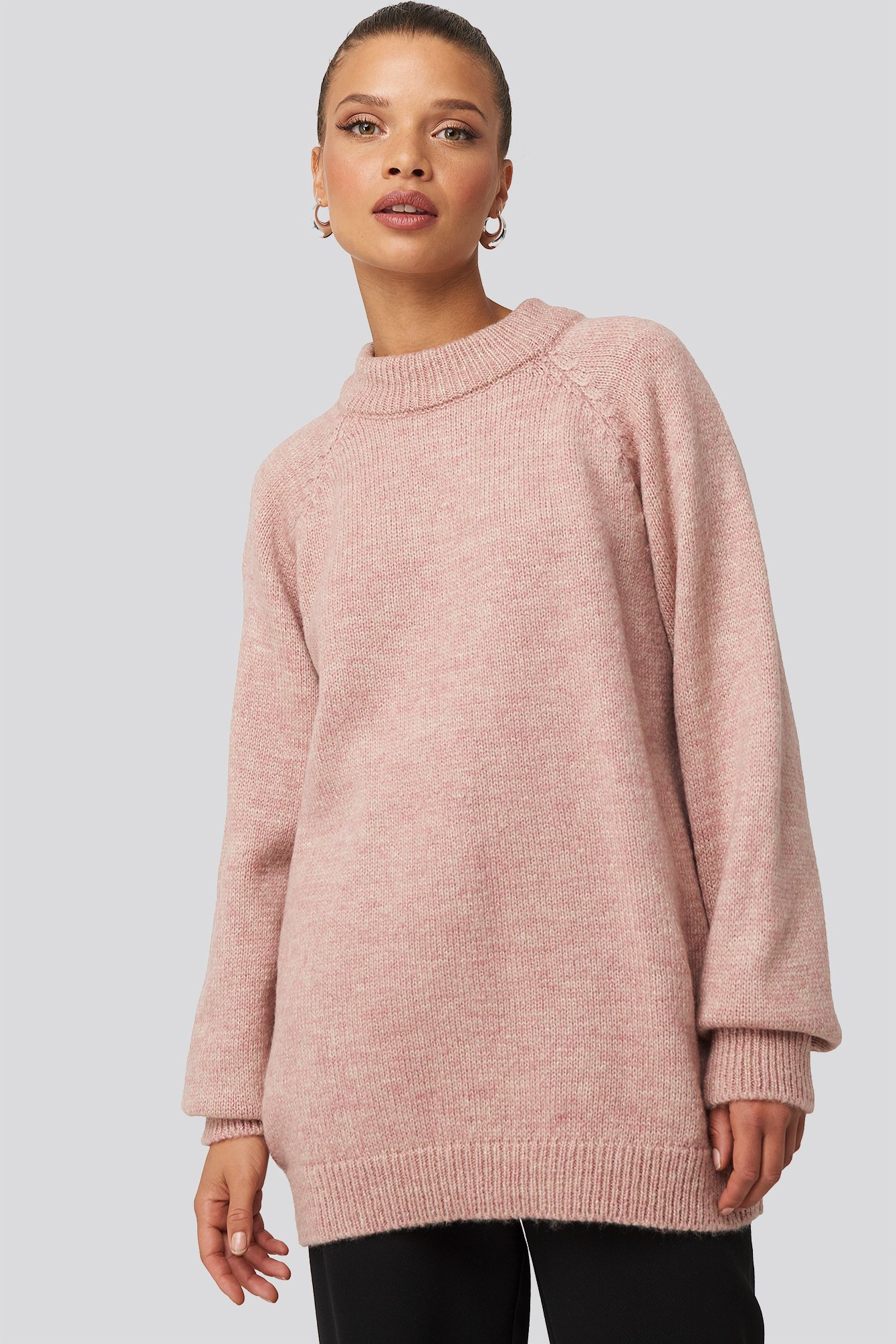 Raglan Sleeve Knitted Sweater Rosa by Na Kd