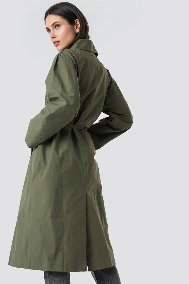 Raglan Sleeve Trench Green