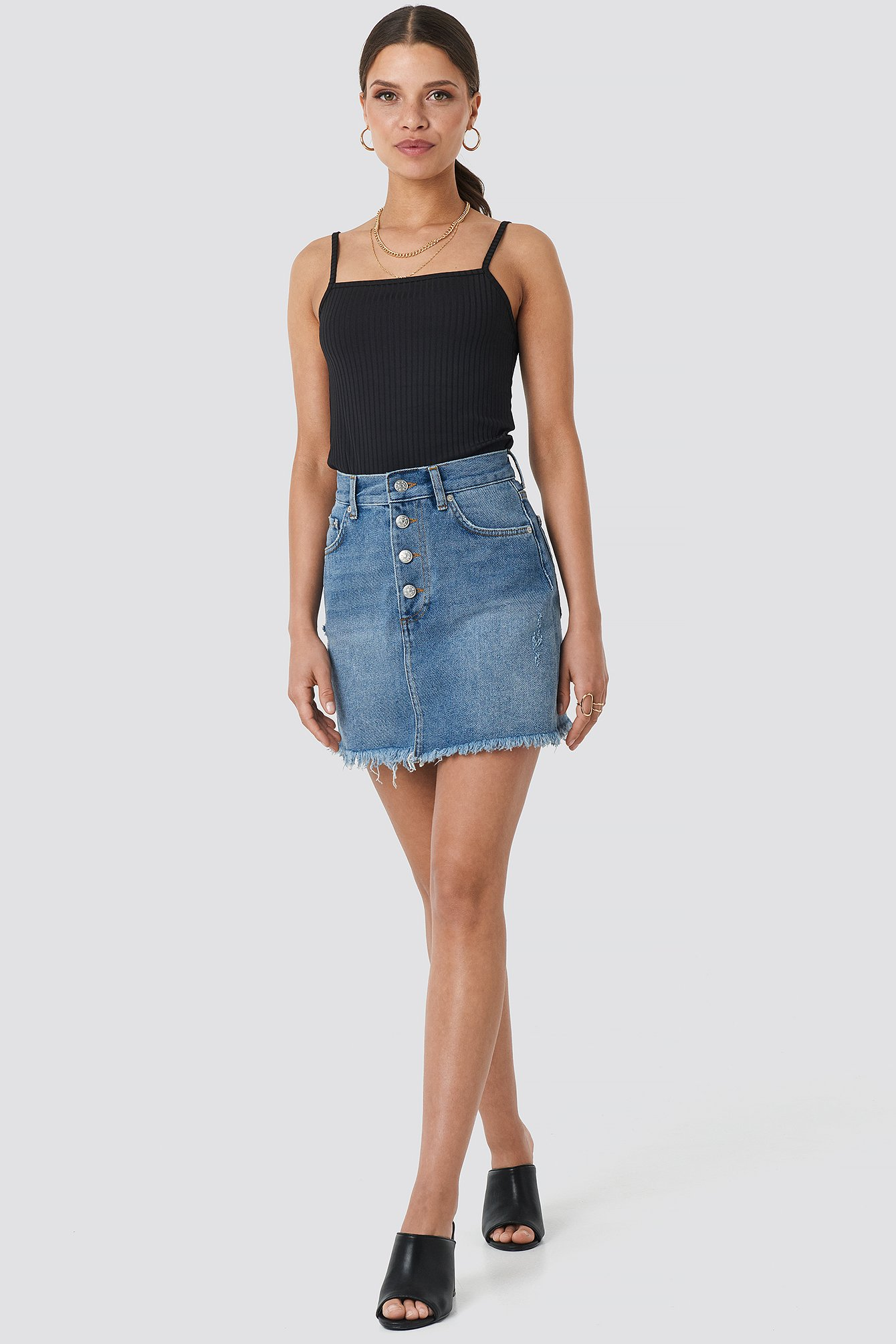 Raw Hem Button Up Mini Skirt NA-KD.COM