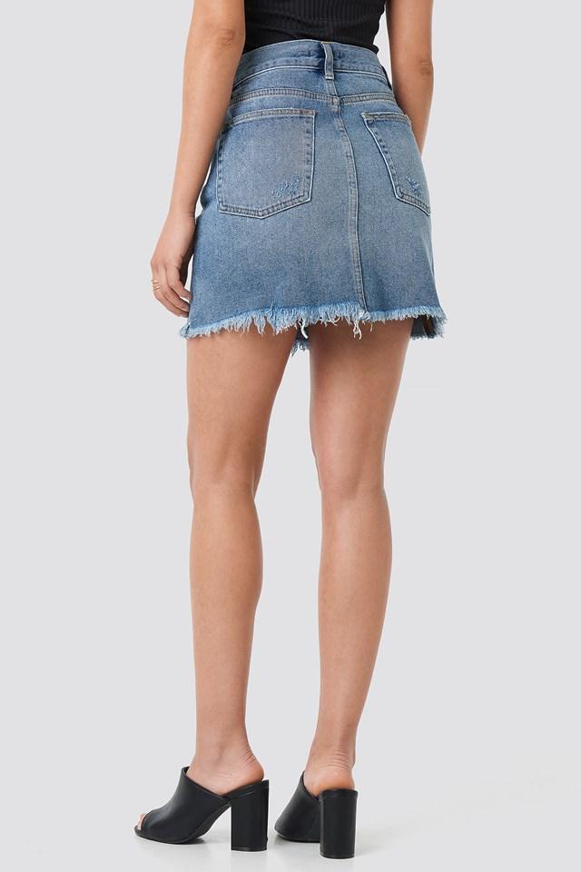 Raw Hem Button Up Mini Skirt Mid Blue Wash