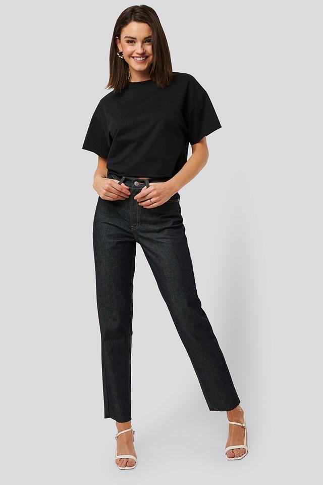 Raw Denim Jeans Dark Blue