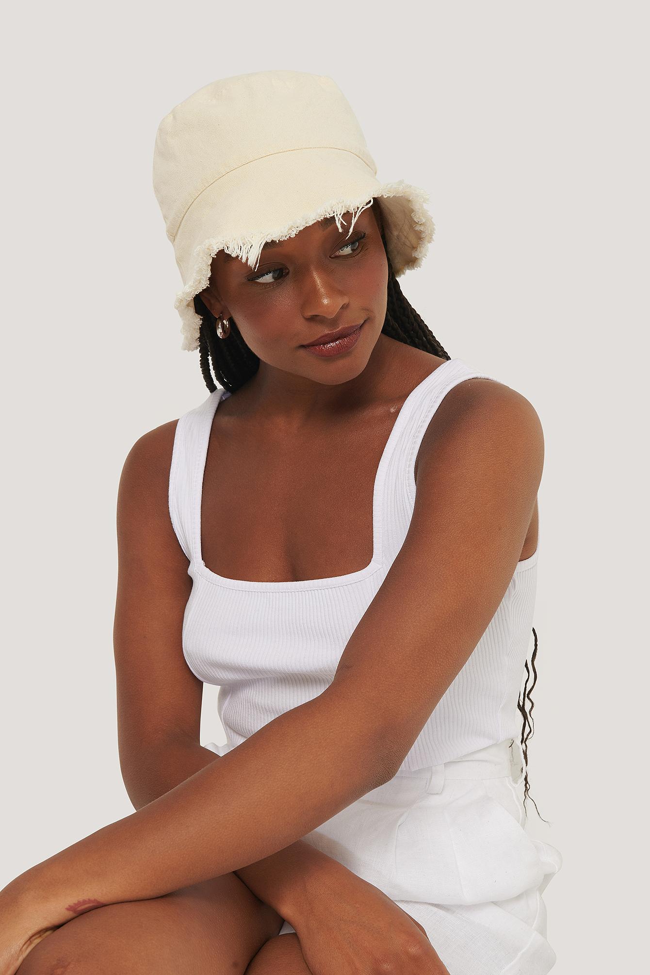 NA-KD Accessories Raw Edge Bucket Hat - Beige