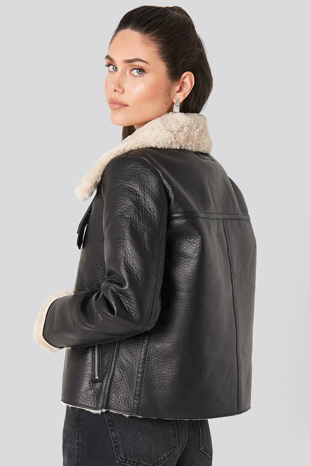 Raw Edge Cropped Aviator Jacket Black