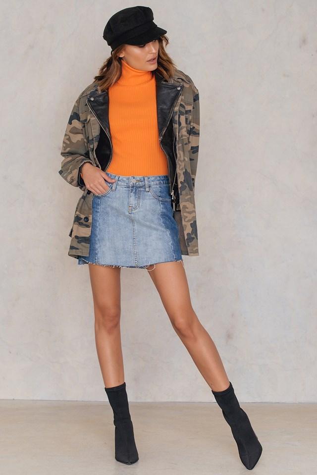 Raw Edge Denim Skirt Mid Blue