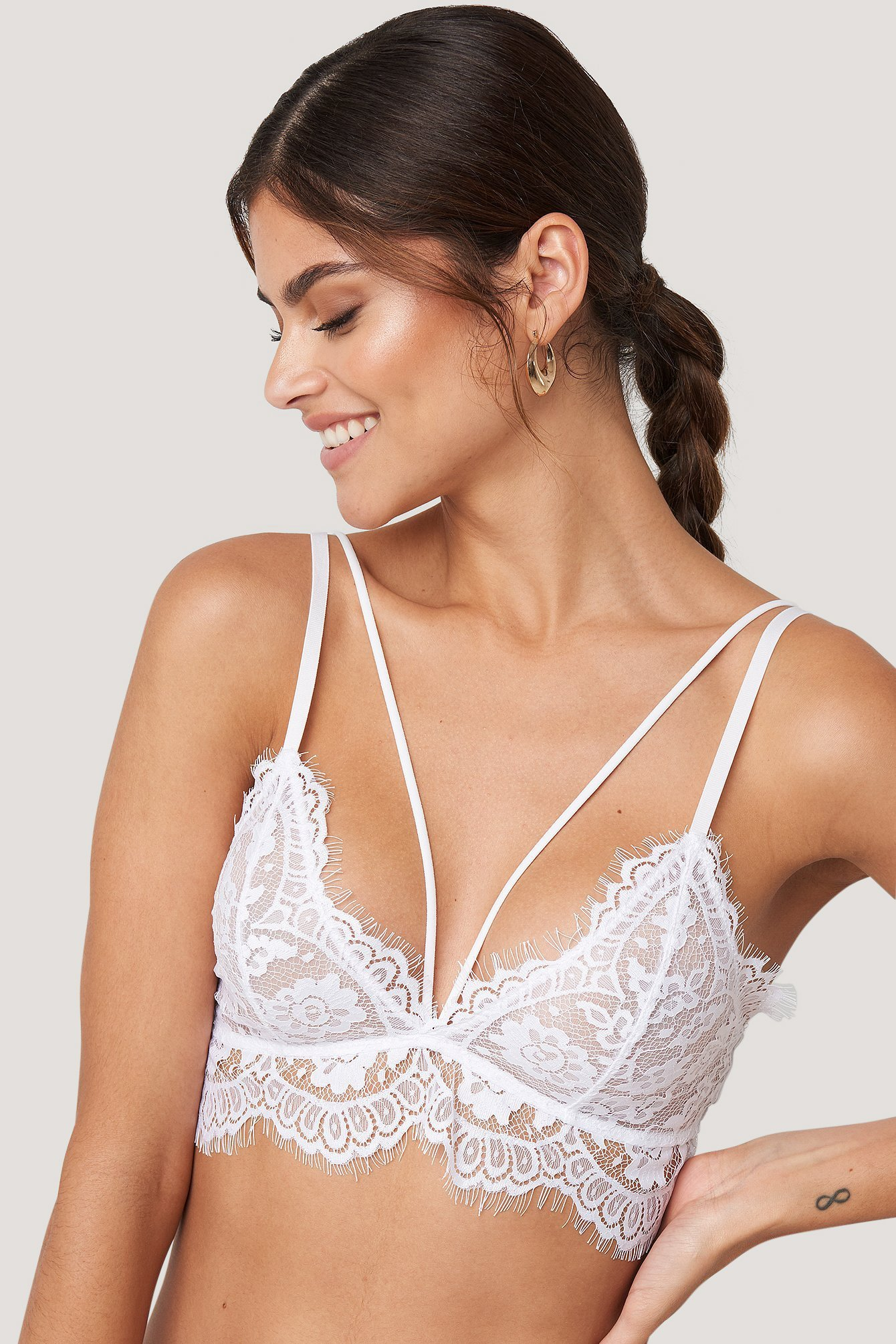 White Raw Edge Double Strap Bra