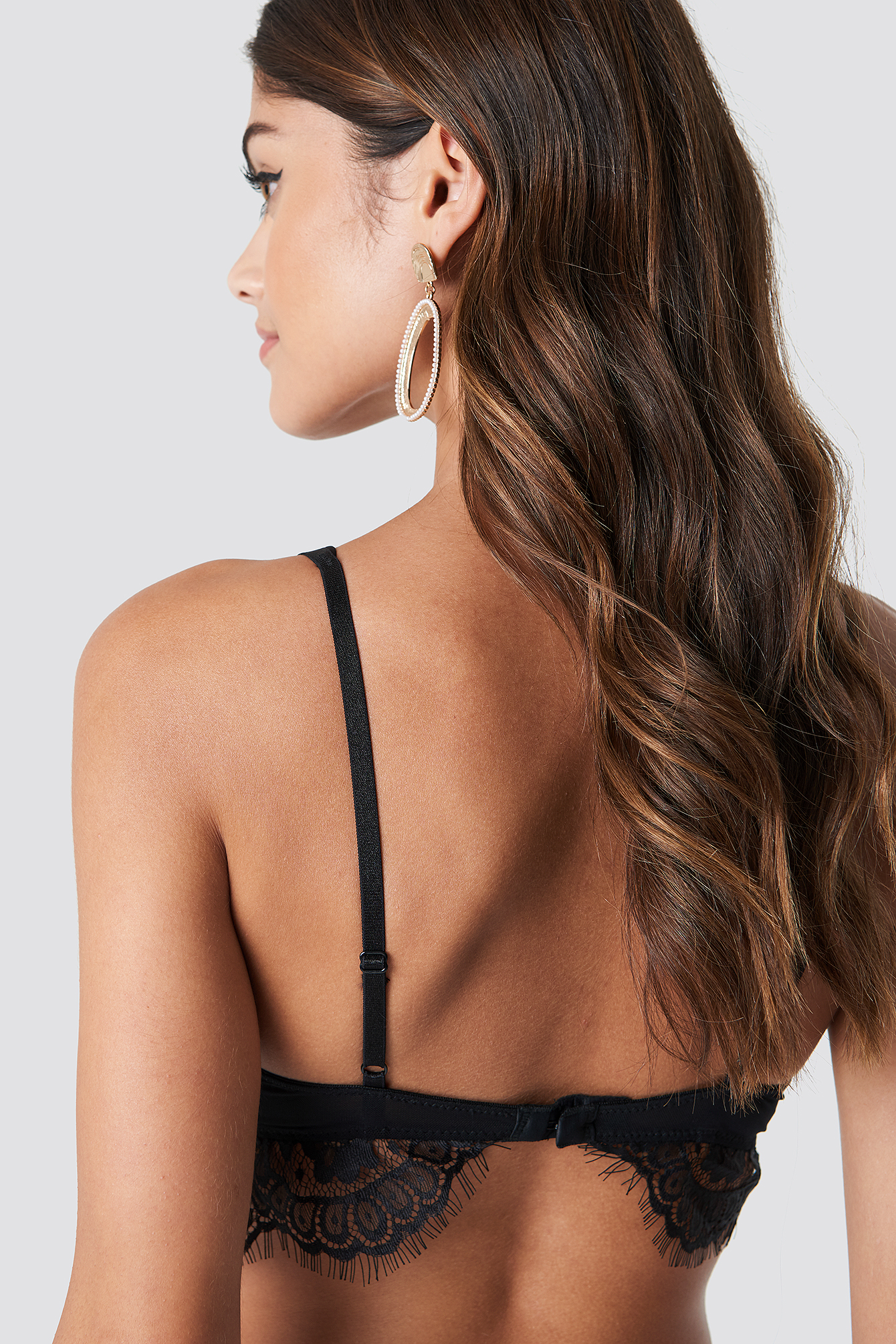 Black Raw Edge Double Strap Bra