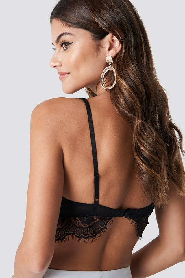 Raw Edge Double Strap Bra Black