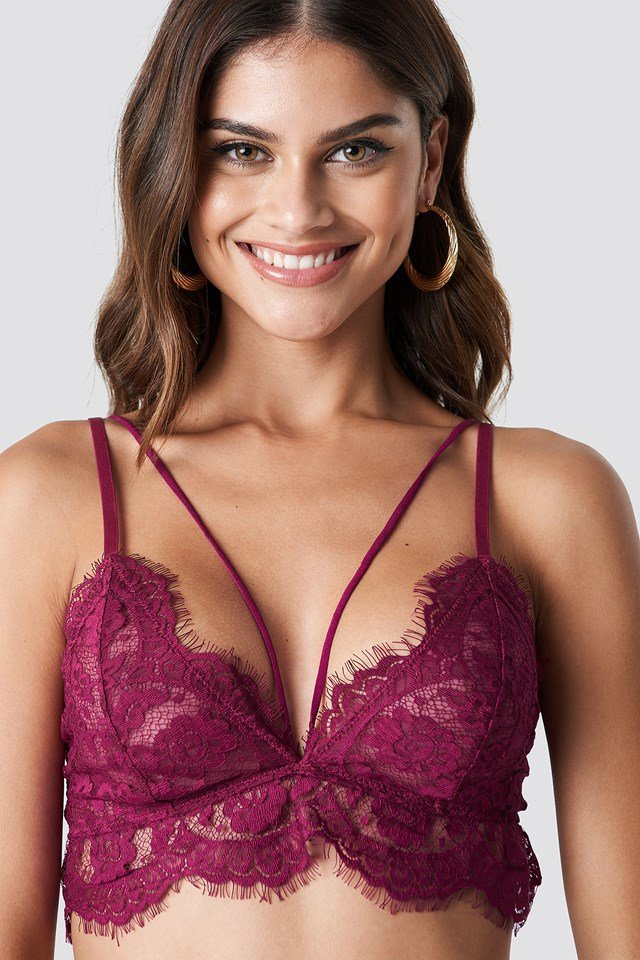 Raw Edge Double Strap Bra Burgundy
