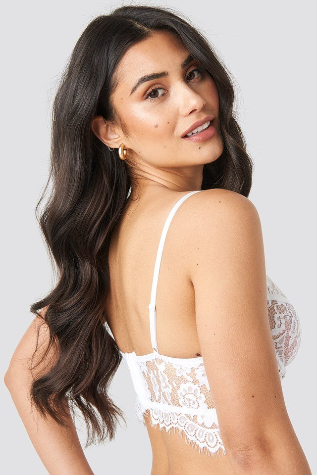 Raw Edge Lace Bustier White