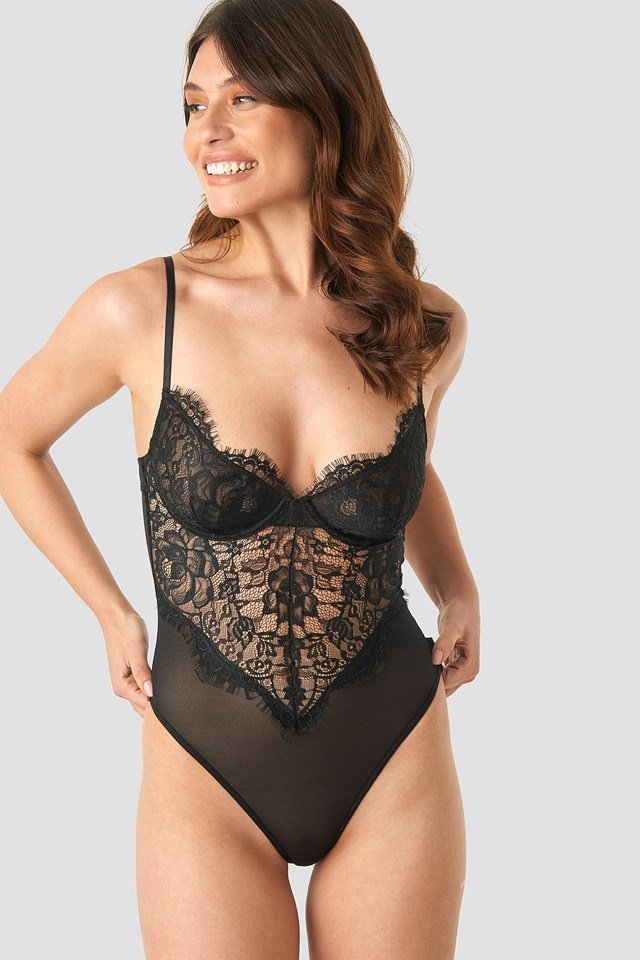 Raw Edge Lace Cup Bodysuit Black