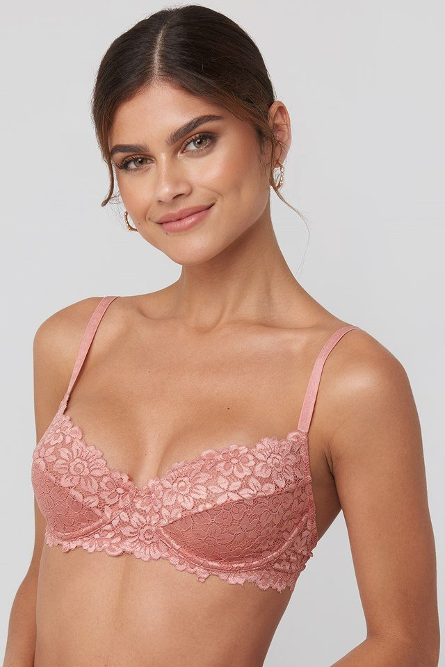 Raw Edge Lace Cup Bra Pink Umber