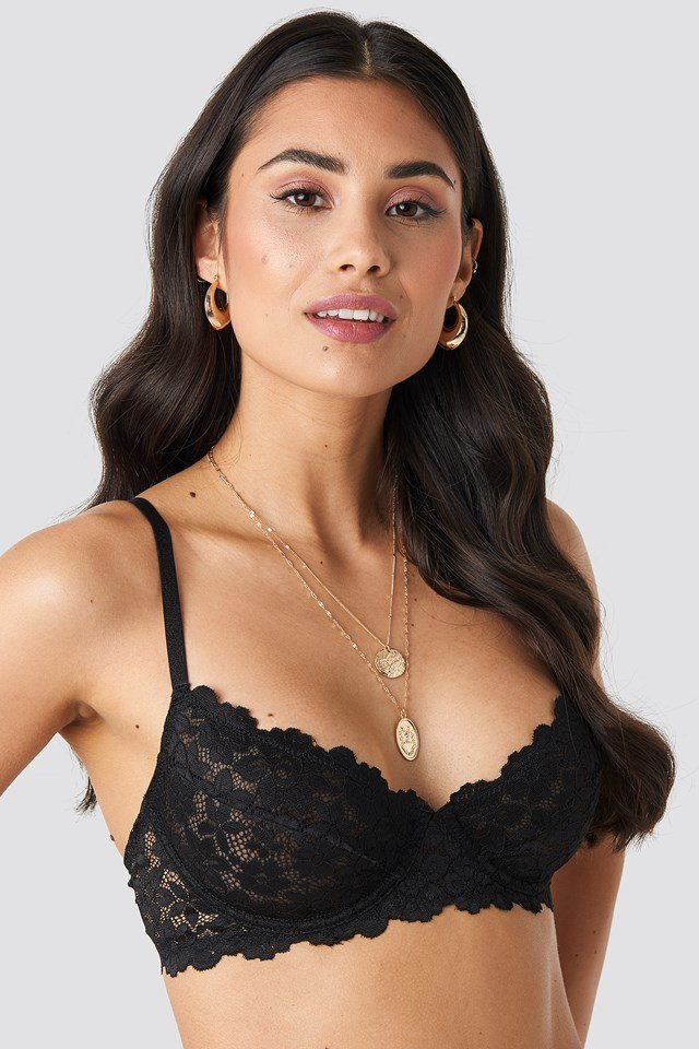Raw Edge Lace Cup Bra Black