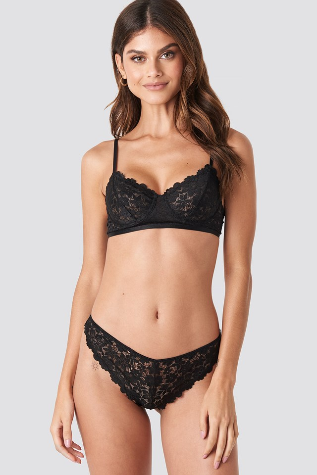 Raw Edge Lace Panty Black
