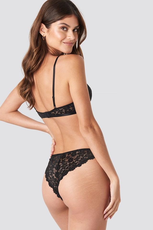 Raw Edge Lace Panty Black