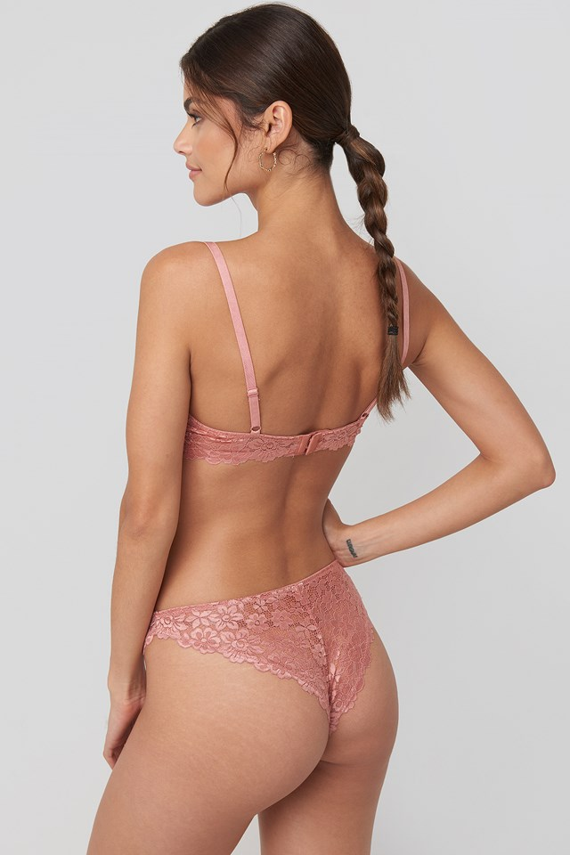 Raw Edge Lace Panty Pink Umber