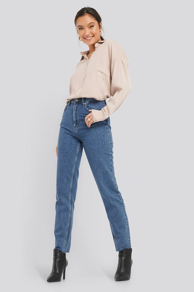 Raw Edge Mom Jeans Mid Blue