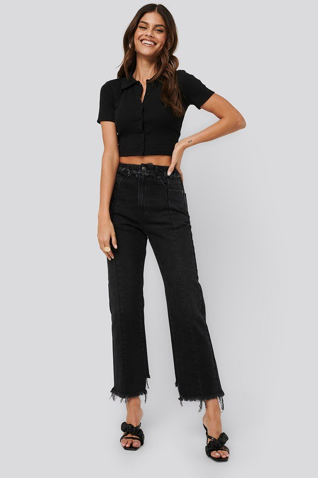 Raw Edge Straight Jeans Washed Black