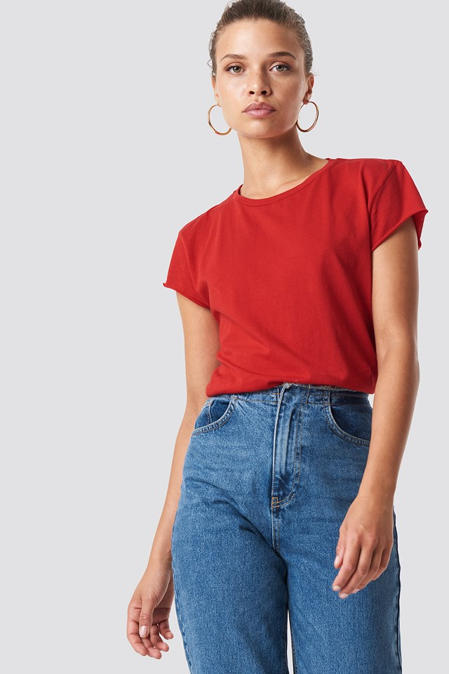 Raw Edge Tee Red