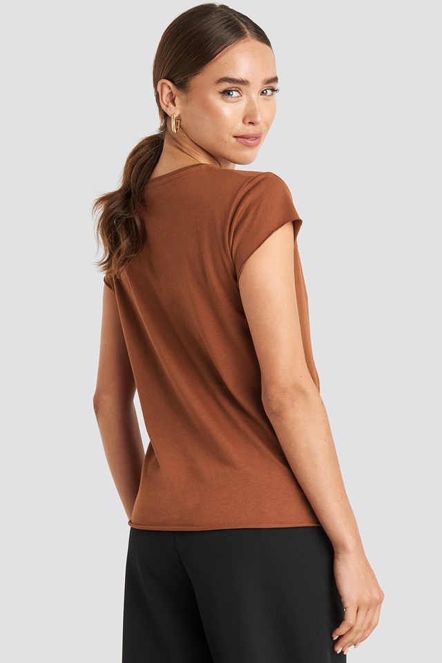 Raw Edge Tee Brown