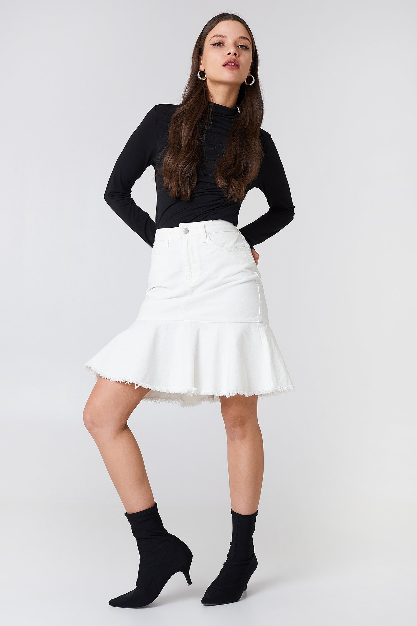 NA-KD Raw Hem Denim Skirt